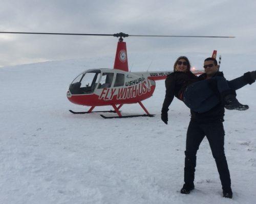 Pedido de Noivado em Sobrevoo de helicóptero com pouso na Cordilheira dos Andes