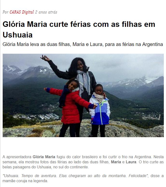 Gloria Maria curte ushuaia