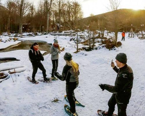 Turma de amigos esquiando na neve durante o inverno em Ushuaia